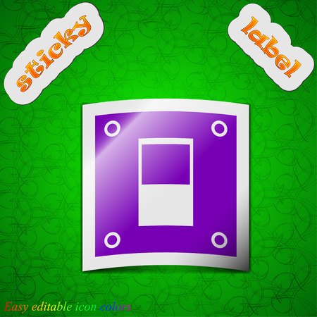 power switch: Power switch icon sign. Symbol chic colored sticky label on green background