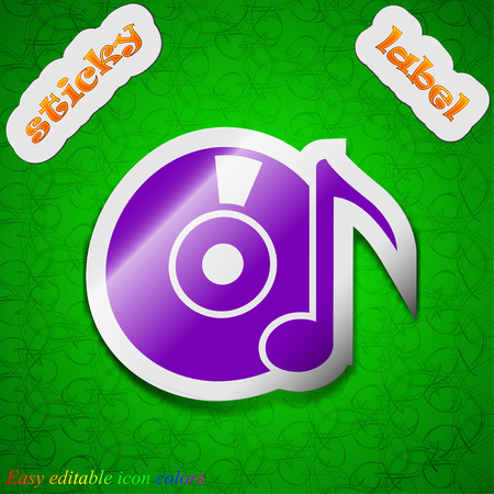 cd label: CD or DVD icon sign. Symbol chic colored sticky label on green background