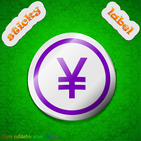 yuan: Japanese Yuan icon sign. Symbol chic colored sticky label on green background Illustration