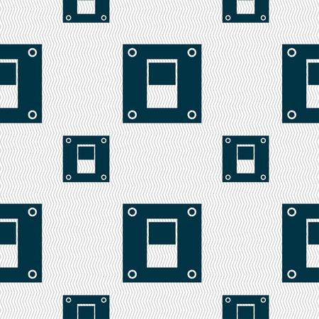 power switch: Power switch icon sign. Seamless pattern with geometric texture