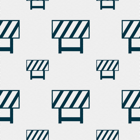 road barrier: road barrier icon sign. Seamless pattern with geometric texture Illustration