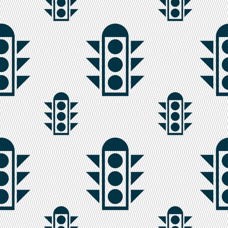 light signal: Traffic light signal icon sign. Seamless pattern with geometric texture