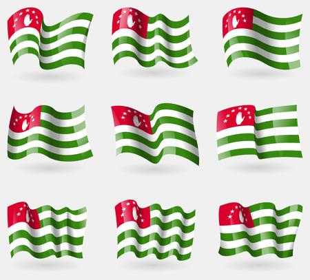 abkhazia: Set of Abkhazia flags in the air. Vector illustration Illustration