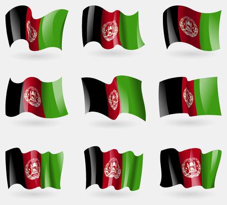 afghane: Set Afghanistan Fahnen in der Luft. Vektor-Illustration Illustration