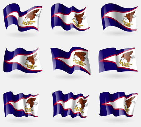 wallpaper  eps 10: Set of American Samoa flags in the air. Vector illustration