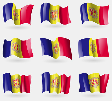 andorra: Set of Andorra flags in the air. Vector illustration