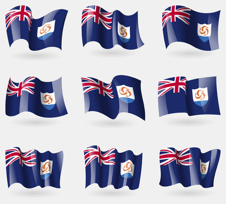 anguilla: Set of Anguilla flags in the air. Vector illustration