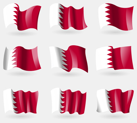 correctly: Set of Bahrain flags in the air. Vector illustration