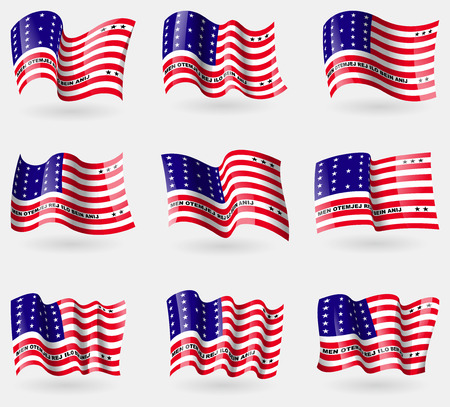 dependency: Set of Bikini Atoll flags in the air. Vector illustration