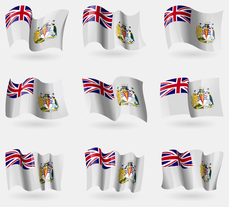 antarctic: Set of British Antarctic Territory flags in the air. Vector illustration