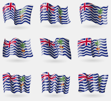 indian ocean: Set of British Indian Ocean Territory flags in the air. Vector illustration
