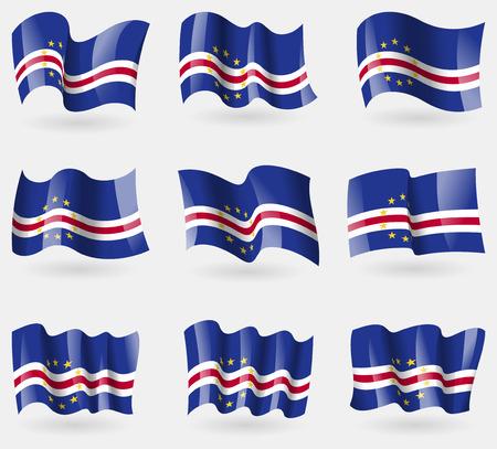 cape verde: Set of Cape Verde flags in the air. Vector illustration Illustration