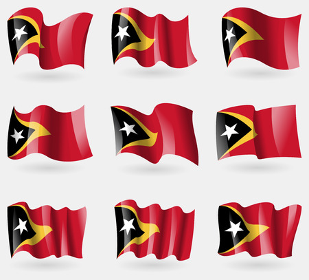 timor: Set of East Timor flags in the air. Vector illustration