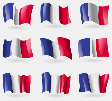 frence: Set of Frence flags in the air. Vector illustration