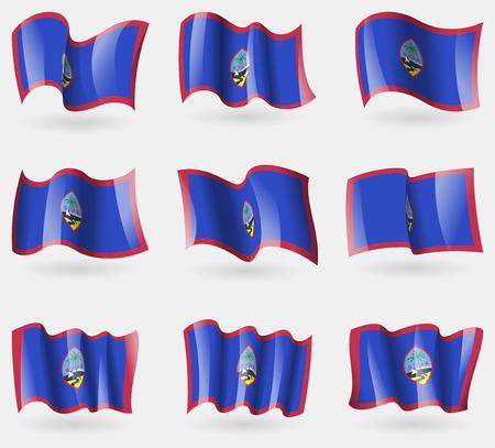 guam: Set of Guam flags in the air. Vector illustration