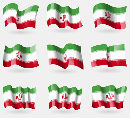 Set of Iran flags in the air. Vector illustration