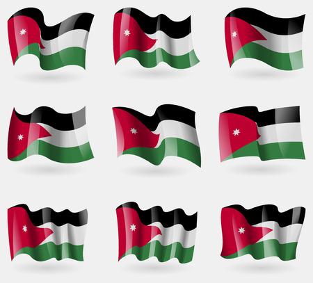 jordanian: Set van Jordan Jordan vlaggen in de lucht. Vector illustratie Stock Illustratie