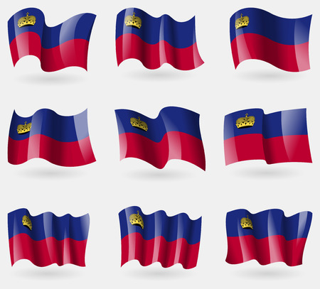 li: Set of Liechtenstein flags in the air. Vector illustration