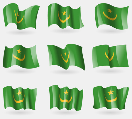 northwest africa: Set of Mauritania flags in the air. Vector illustration Illustration