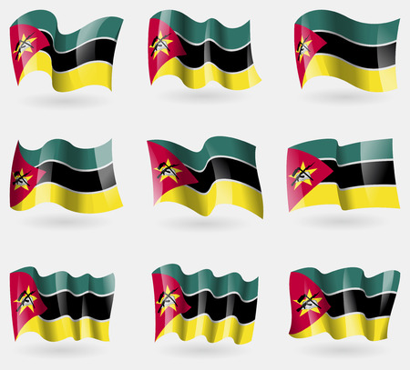mozambique: Set of Mozambique flags in the air. Vector illustration Illustration