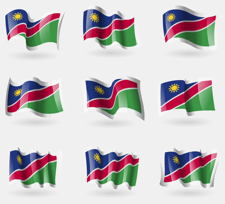 flagged: Set of Namibia flags in the air. Vector illustration