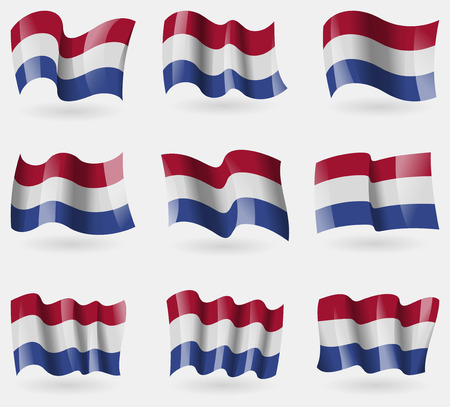 unitary: Set of Netherlands flags in the air. Vector illustration