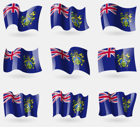 pitcairn: Set of Pitcairn Islands flags in the air. Vector illustration