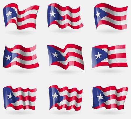 bandera de puerto rico: Conjunto de los indicadores Purto Rico en el aire. Ilustración vectorial Vectores