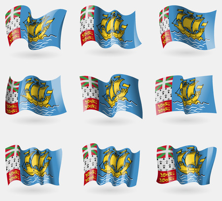 collectivity: Set of Saint Pierre and Miquelon flags in the air. Vector illustration Illustration