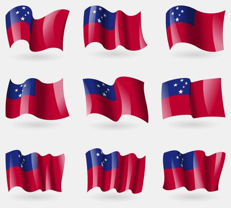 samoa: Set of Samoa flags in the air. Vector illustration