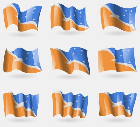 tierra: Set of Tierra del Fuego Province flags in the air. Vector illustration
