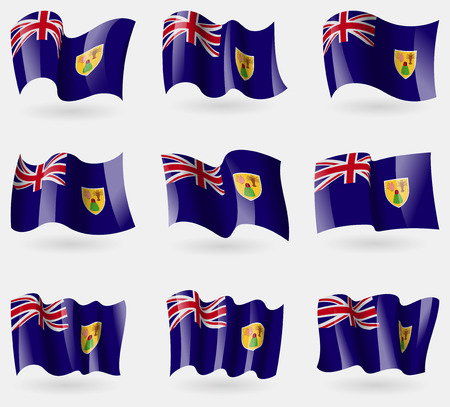 the turks: Set of Turks and Caicos flags in the air. Vector illustration