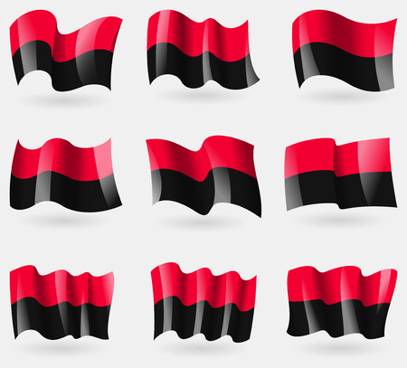 nationalists: Set of UPA flags in the air. Vector illustration Illustration