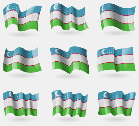 oezbekistan: Set van Oezbekistan vlaggen in de lucht. Vector illustratie Stock Illustratie