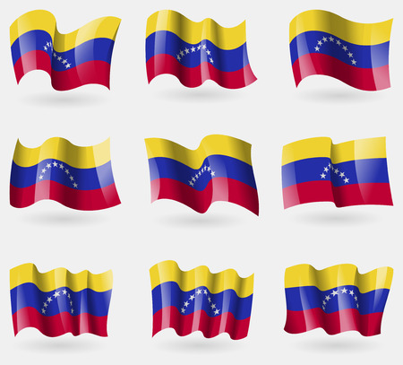 venezuelan: Conjunto de banderas de Venezuela en el aire. Ilustraci�n vectorial