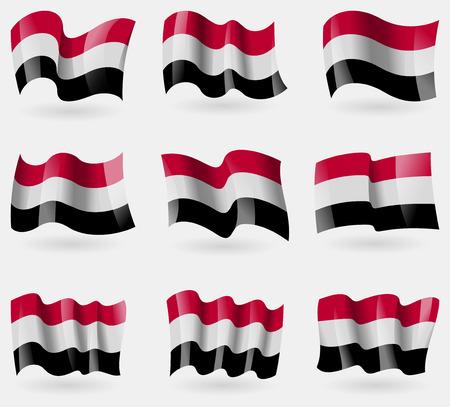 retrospective: Set of Yemen flags in the air. Vector illustration