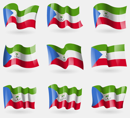 equatorial: Set of Equatorial Guinea flags in the air. Vector illustration Illustration
