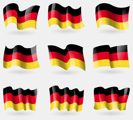 deutsch: Set of Germany(New) flags in the air. Vector illustration