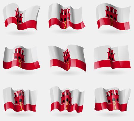 gibraltar: Set of Gibraltar flags in the air. Vector illustration