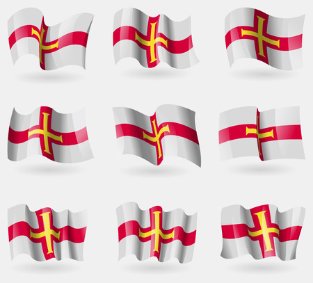 guernsey: Set of Guernsey flags in the air. Vector illustration