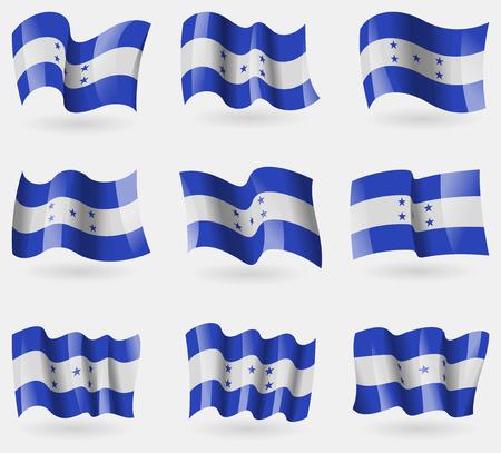 spangled: Set of Honduras flags in the air. Vector illustration Illustration