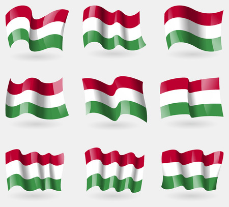 Set of Hugary flags in the air. Vector illustration Vector