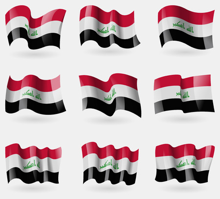 Set of Iraq flags in the air. Vector illustration