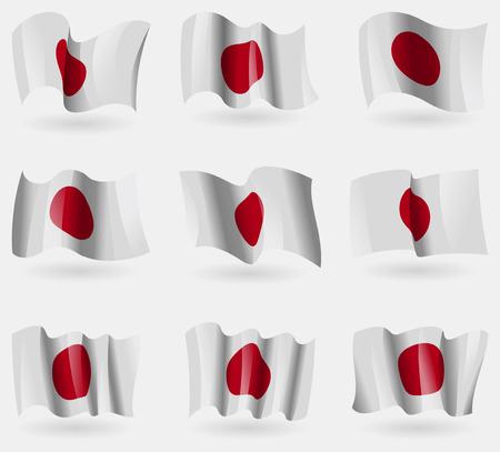 hinomaru: Set of Japan flags in the air. Vector illustration Illustration