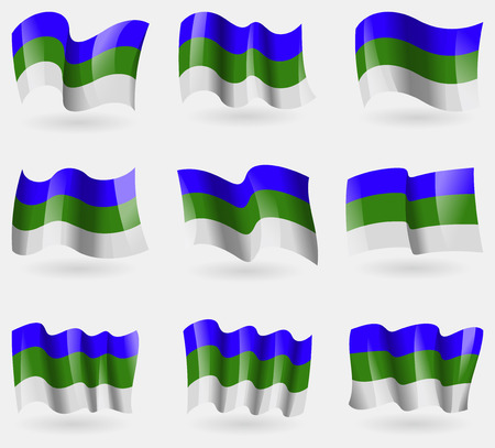 northwestern: Set of Komi flags in the air. Vector illustration Illustration