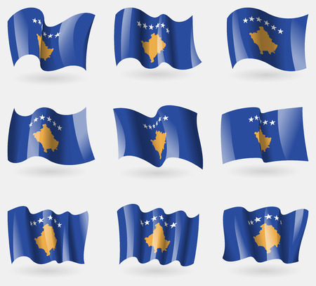 travel locations: Set of Kosovo flags in the air. Vector illustration