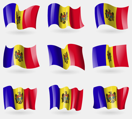moldovan: Set of Moldova flags in the air. Vector illustration Illustration