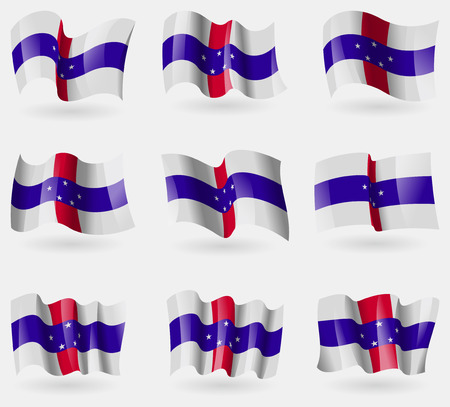 antilles: Set of Netherlands Antilles flags in the air. Vector illustration