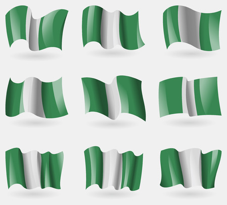 anthem: Set of Nigeria flags in the air. Vector illustration