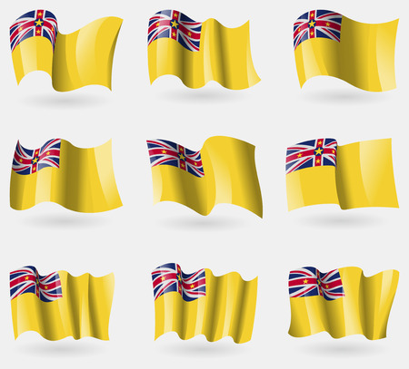 niue: Set of Niue flags in the air. Vector illustration